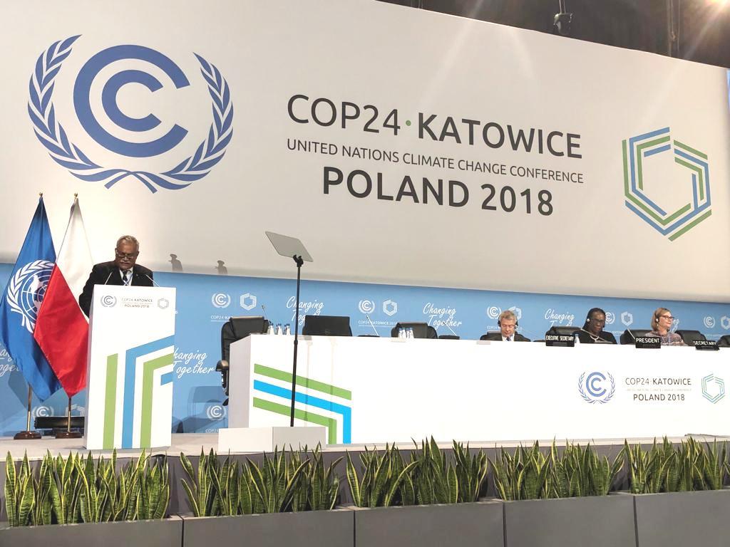 El vicepresidente ejecutivo del CNCCMDL, mientras participa en la plenaria de la COP24.